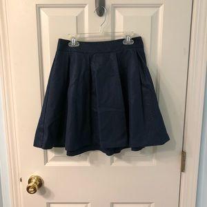 0P Navy/Gold Metallic Plaid Banana Republic Skirt